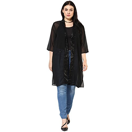Qurvii Black Sequin Sheer Duster Shrug for Women ()