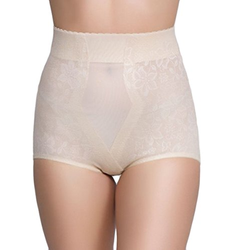 QT Intimates Lace Jaquard Control Brief w/ Powermesh #281 (XX-Large, Beige)