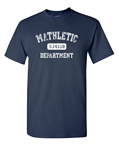 Mathletic Funny Pi Math 3.14 Nerd Geek Number Humor Calculus Graphic Tee Pun Men's Adult T-Shirt (Large) Navy Blue -