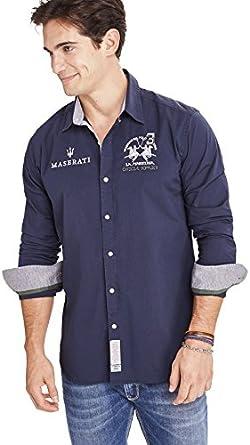La Martina - Camisa casual - Básico - para hombre marine XXXX-Large: Amazon.es: Ropa y accesorios