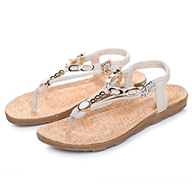 RoseSummer New Fashion Women's Flat Sandals Massage Metal Flip flops chic