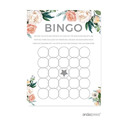 Andaz Press Peach Coral Floral Garden Party Wedding Collection, Bridal Shower Bingo Game Cards, 20-Pack