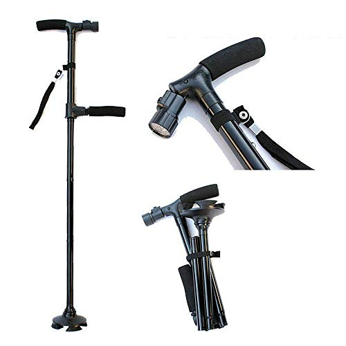 (Lightweight Quad Cane, Folding Walking Cane with LED Light, Comfortable Crutches Right and Left Hand Grip for Stability Support for Fathers Mothers Gifts)