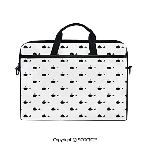 Personalized Laptop Bag 14-15 Inch Messenger Bag Whale Icon with Fins on Symmetric Repeating Motif Marine Creature Mammal Design Shoulder Sleeve Case Tablet Briefcase