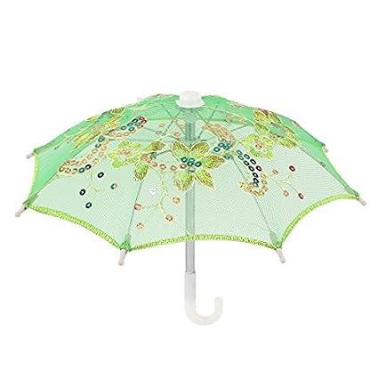 eDealMax Mini Encaje Hecho a Mano de la boda de lentejuelas decoración algodón Parasol Verde