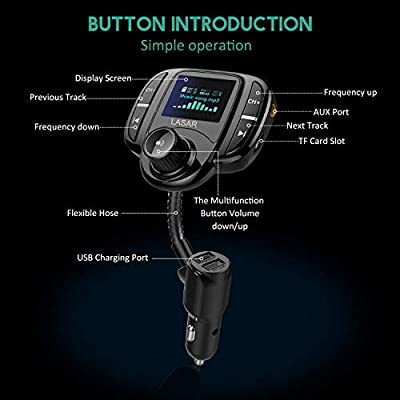 (Upgraded Version) Bluetooth Car FM Transmitter Audio Adapter Receiver Wireless Hands Free Car Kit/w Smart 2.4A Dual USB Ports with 1.7Inch Display, Support AUX Input/Output, TF Card Mp3 Player: Electronics