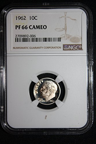1962 Roosevelt Proof Dime Gold Toned Cameo Dime PF-66 NGC CAM