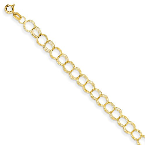 14k Yellow Gold Solid Triple Link Charm Bracelet 8 Inch Fine Jewelry Gifts For Women For Her