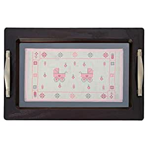 Turathna DCO 073-Pink Baby Girl Wooden Tray - 2 Strollers Handmade Cross Stitch - 1 Piece