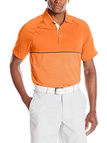 Cutter & Buck Men's CB Drytec Junction Stripe Hybrid Polo, Orange Burst/White, XX-Large