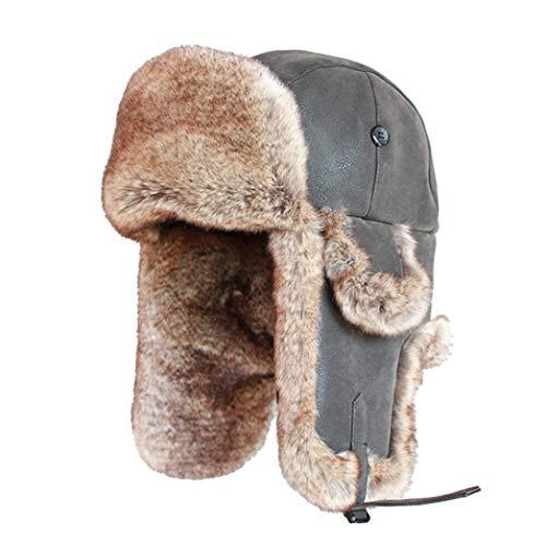 (Mens Bomber Trooper Trapper Hat,Winter Faux Rabbit Fur PU Leather Earflap Aviator Trapper Warm Snow Ski Cap)