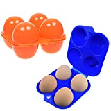 #9: COSMOS Pack of 2 pieces Plastic Portable Camping 4 Eggs Carrier Container Case Outdoor Egg Box