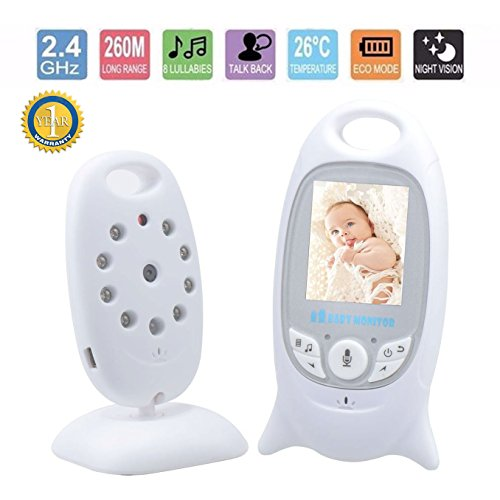 "Baby Monitor Camera Video Digital Security 2.4GHz Two Way Realtime Audio Talk Night Vision Temperature Monitoring 2.0"" Display"