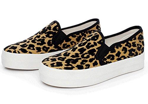 White Bottom Corsa 36 Tempo Shoes Studenti Modello One Lady Libero Bianco 1003cm0356cm Confortevole Pedale Xie Leopard Movimento Spessore 39 Giallo Canvas gBT4wXq