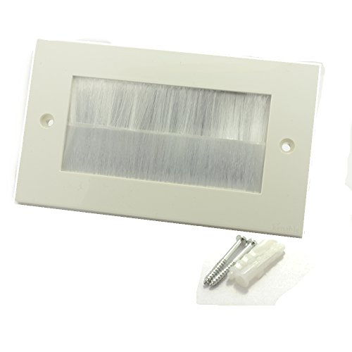 kenable WHITE BRUSH Faceplate for Cable Exit/Wall Outlet UK Double Gang White
