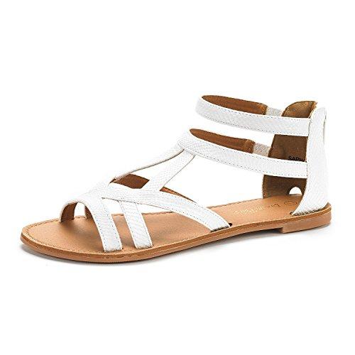 New White Pu Women Sandals - DREAM PAIRS SAPHA New Women's Summer Trendy Print Gladiator Back Zipper Flat Sandals White PU PU Size 5.5