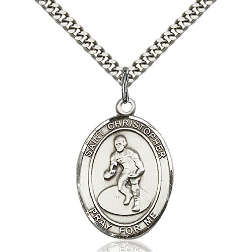 Sterling Silver St. Christopher/Wrestling Pendant 1 x 3/4 inches with Heavy Curb Chain by Bonyak Jewelry