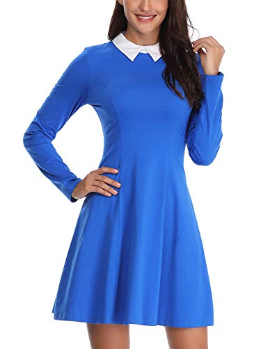 FENSACE Womens Long Sleeve Royal Blue Miss Frizzle Halloween Costume -