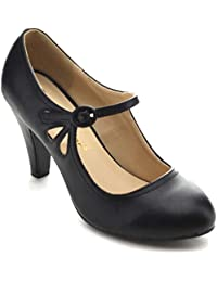 Womens Round Toe Mid Heel Mary Jane Pumps-Shoes Pumps