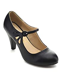 Chase & Chloe Kimmy-21 Women's Round Toe Pierced Mid Heel Mary Jane Style Dress Pumps