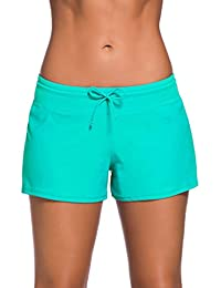 Papaya Wear Women's Boardshorts Beach Short Swim Brief with Adjustable Ties