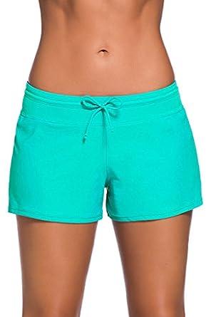 DOKOTOO Womens Wide Waistband Swimsuit Bottom Mini Shorts Swimwear(S-XXXL)