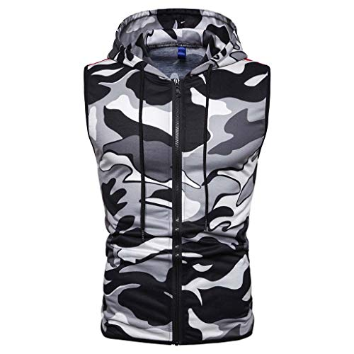 NEARTIME Mens Sleeveless Vest, Summer Casual Zip Up Hooded Sweatshirt Sport Camouflage Hoodies Cotton Waistcoat
