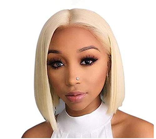 #613 Bob Wig Virgin Human Hair Lace Front Wigs Blonde Pre Plucked Lace Frontal Straight Middle Part Short Cut Bob wigs 130% Density for Women 10""