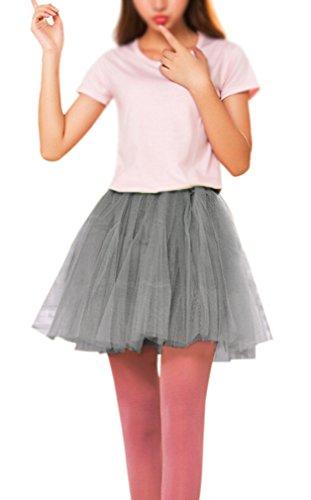 Ballerina Tutus For Women (Women's, Teen, Adult Classic Elastic 3, 4, 5 Layered Tulle Tutu Skirt (One Size, Gray)
