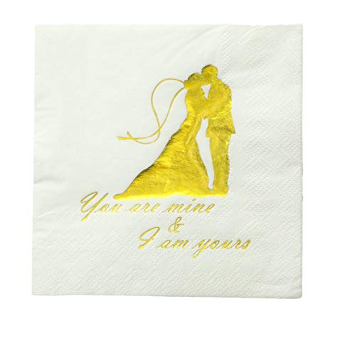 Set of 100 Gold You Are Mine & I am Yours Vintage Beverage Disposable Napkin 3 Ply Gold Foil Couple Bride Groom White Paper Cocktail Bridal Shower Bachelorette Vow Renewal Parties Bling Engagement