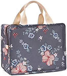 Muitifunction Canvas Bento Lunch Bag Travel cosmetic bag for Picnic Travel Tote Lunch Bag with Zipper Stylish Large Capacity Pink