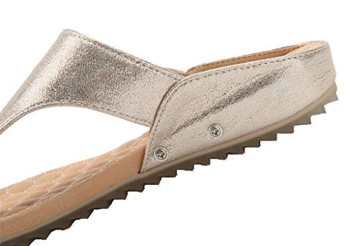 AgeeMi Shoes Mujer Sandalias Plataforma Del Verano Para Mujer Classic Zapatos Gold (EuL09)