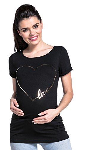 Zeta Ville - Premamá T-shirt camiseta estampado dorado corazón - mujer - 590c Negro