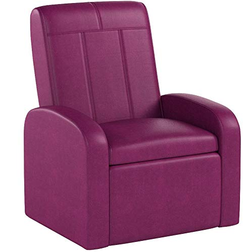 STASH Comfy Folding Kids Toddler Plush Sofa Lounge Chair with Storage Chest Ottoman cute mini upholstered armchair for little boy girl children play-room toy modern home sitting baby furniture,Pink by Uncaged Furniture