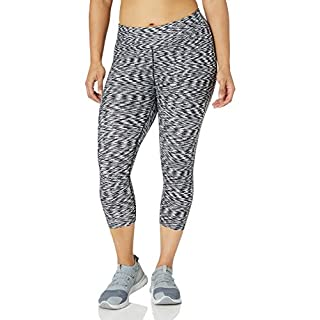 Calvin Klein Women's Plus Size Space Dye Print Crop Legging, Neutral, 2X