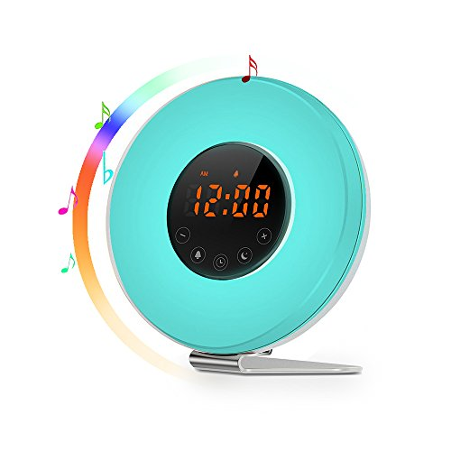 Sunrise Alarm Clock - Joyful Heart Best Wake Up Light with 7 colors Changing, FM Radio, Touch Control, Snooze Function and Sunrise Simulator Alarm Clock for Bedside, Adults and Kids