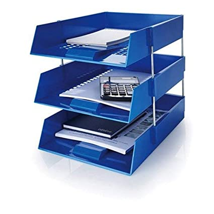 9 Trays//6 Riser Sets Including Risers. 5 Star Blue A4 Plastic Letter File Trays