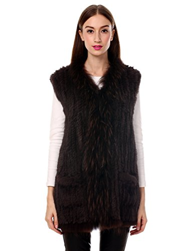 - Ferand Long Genuine Knitted Rabbit Fur Sleeveless Vest with Raccoon Trim Lightweight Knitted Design for Women, Brown, XX-Large