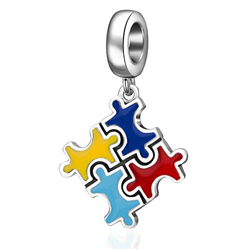 Emostar Autism Awareness Charm Sterling Silver Puzzle Piece Enamel Colorful Charms Beads for Bracelets