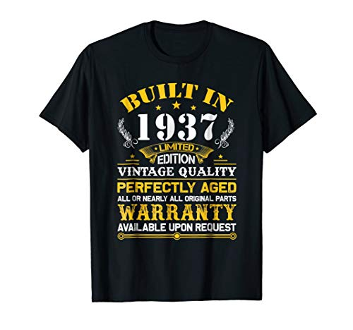 Perfectly Aged Built In 1937 82nd Years Old Birthday Shirt (Gift Ideas For 82 Year Old Woman)