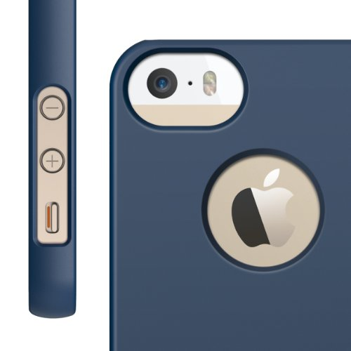 elago S5 Slim Fit Case for iPhone 5 + HD Professional Extreme Clear film included - Full Retail Packaging - Soft Feeling Jean Indigo