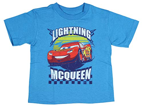 Price comparison product image Disney Cars T Shirt Toddler Lightening McQueen 95 Graphic Logo Blue Tee 3T