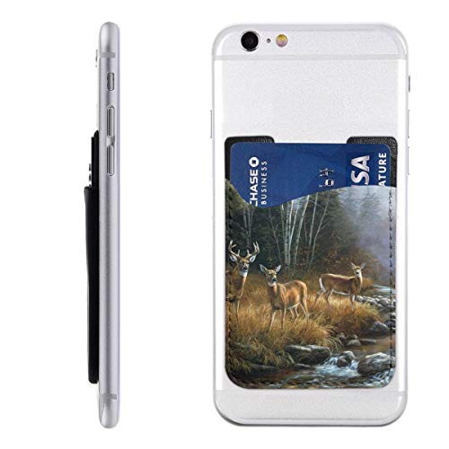 Natural Scenery Animal Deer River Phone Card Holder Silicone 3M Adhesive Stick-on Wallet Card Holder Sleeves Pouch Phone Pocket