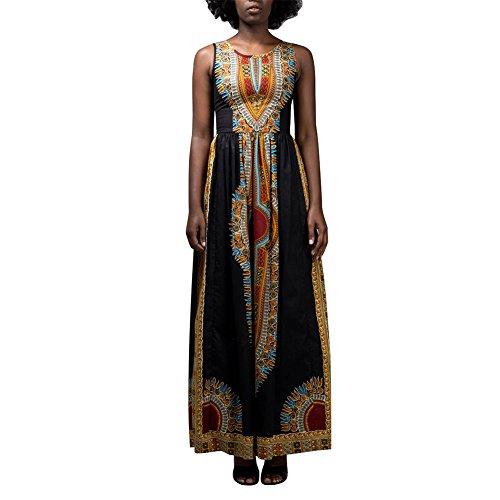 Aro Lora Women's African Print Round Neck Sleeveless Ethnic Dashiki Tank Long Maxi Dress X-Large (Modern African Clothing)
