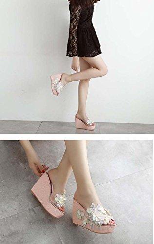 SHEO sandalias de tacón alto Señoras pendiente con lentejuelas gruesas sandalias de tacón alto Pink