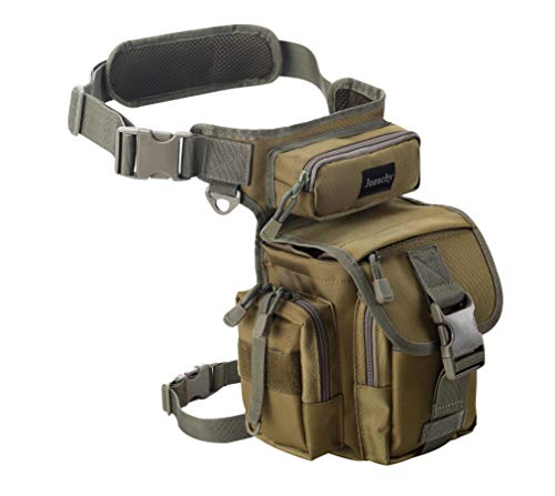 Jueachy Multifunctional Drop Leg Waist Bag, Tactical Military Thigh Hip Outdoor Pack for Motorcycling Hiking Traveling Fishing Tool Pouch with Detachable Water Bottle Pouch,Coyote Tan