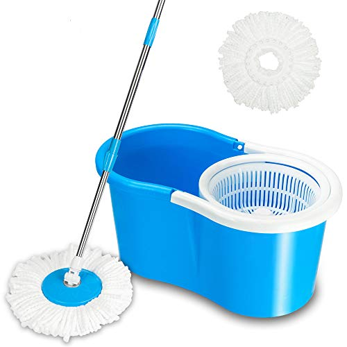 Kshioe 360 Spin Mop &Bucket System Floor Cleaning System With Extended Length Adjustable Handle 2 Microfiber Mop Heads, Wet/Dry Usage on Hardwood & Tile, Easy Wring Mop Bucket Set (BLUE)