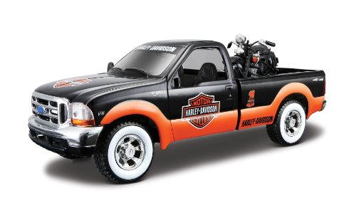 Maisto 1:24 Scale 1999 Ford F-350 SD and Harley Davidson 1936 EL Knucklehead Diecast Vehicles