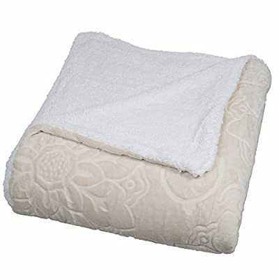 Lavish Home Floral Etched Fleece Blanket with Sherpa, Full/Queen, Vanilla - Style: flannel-like fleece blanket with Sherpa backing Size: full/queen material: 100-percent polyester Dimensions: 86 inches x 90 inches - blankets-throws, bedroom-sheets-comforters, bedroom - 41qHaYOvHEL. SS400  -