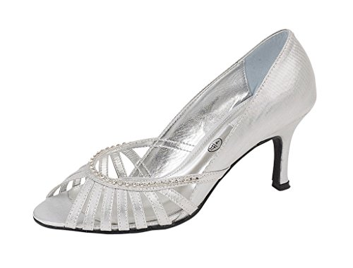 Lexus Z054 Shanika Ladies fashion peep toe shoe with a diamonte trim on front of shoe Silver